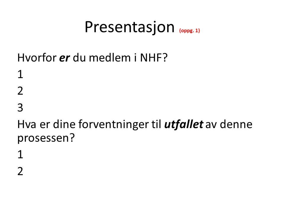 Presentasjon (oppg. 1) Hvorfor er du medlem i NHF.
