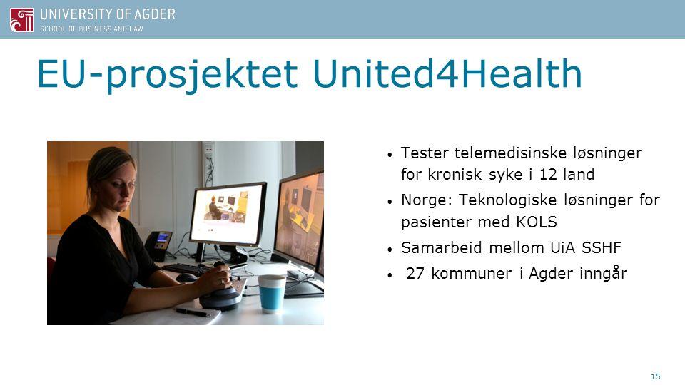 Tester telemedisinske løsninger for kronisk syke i 12 land Norge: Teknologiske løsninger for pasienter med KOLS Samarbeid mellom UiA SSHF 27 kommuner i Agder inngår 15 EU-prosjektet United4Health