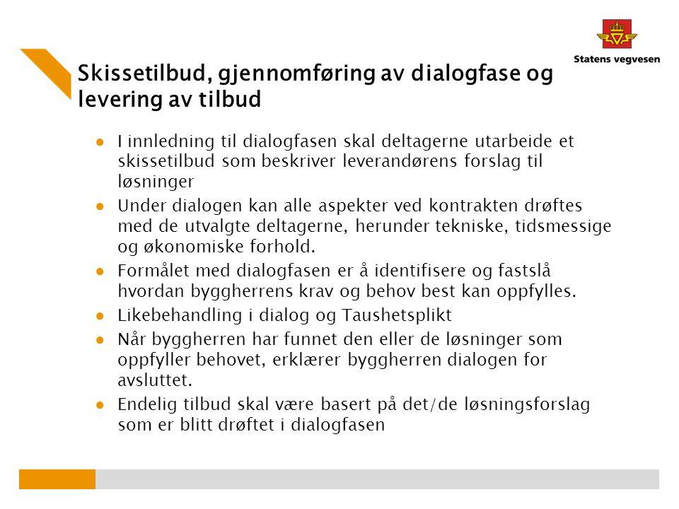 Skissetilbud, gjennomføring av dialogfase og levering av tilbud ● I innledning til dialogfasen skal deltagerne utarbeide et skissetilbud som beskriver