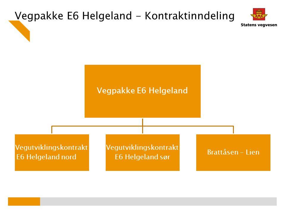 Vegpakke E6 Helgeland - Kontraktinndeling Vegpakke E6 Helgeland Vegutviklingskontrakt E6 Helgeland nord Vegutviklingskontrakt E6 Helgeland sør Brattås