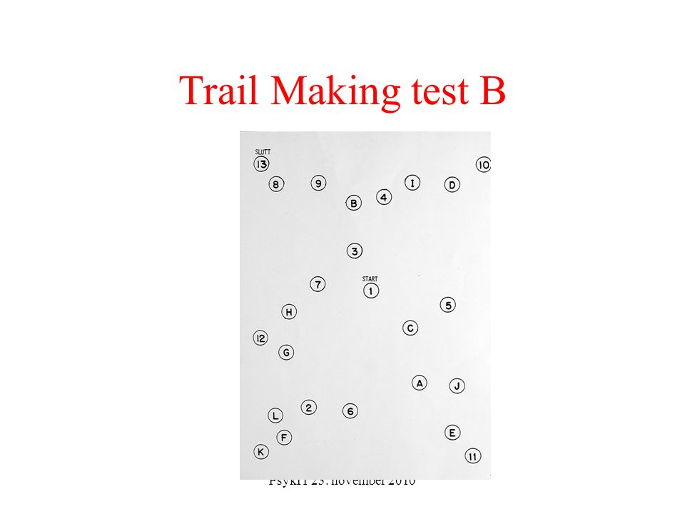 PsykIT 23. november 2010 Trail Making test B