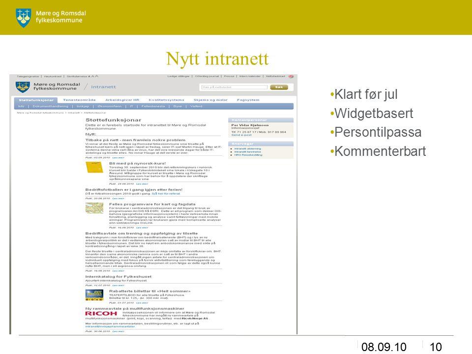 08.09.1010 Nytt intranett Klart før jul Widgetbasert Persontilpassa Kommenterbart