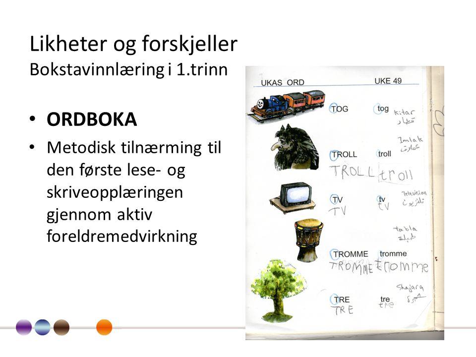 Likheter og forskjeller Bokstavinnlæring i 1.trinn ORDBOKA Metodisk tilnærming til den første lese- og skriveopplæringen gjennom aktiv foreldremedvirk