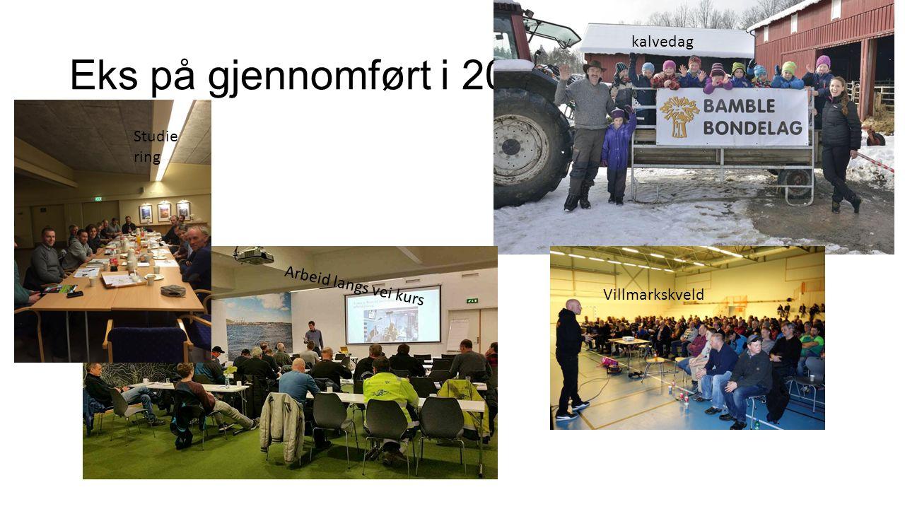 Eks på gjennomført i 2016 Villmarkskveld kalvedag Arbeid langs vei kurs Studie ring