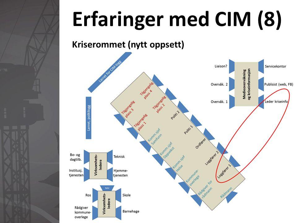 Erfaringer med CIM (8) Kriserommet (nytt oppsett)
