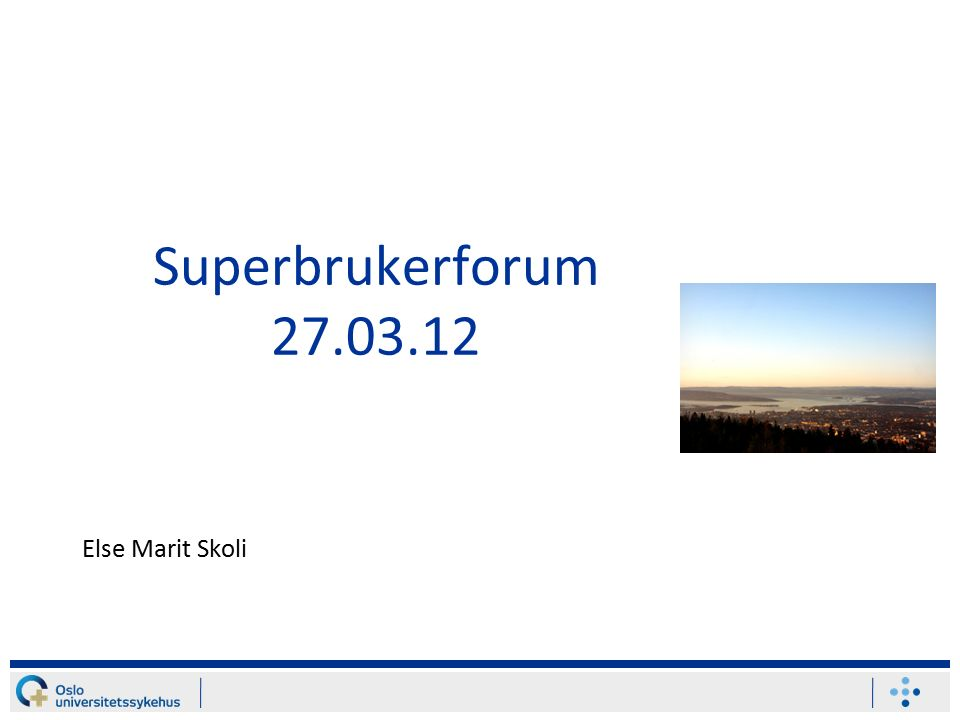 Superbrukerforum 27.03.12 Else Marit Skoli
