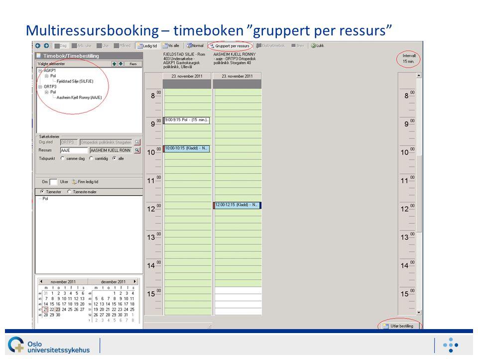 Multiressursbooking – timeboken gruppert per ressurs