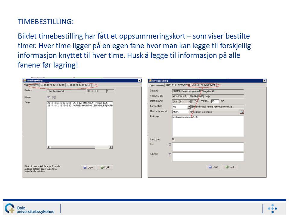 TIMEBESTILLING: Bildet timebestilling har fått et oppsummeringskort – som viser bestilte timer.