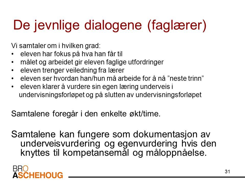 31 De jevnlige dialogene (faglærer) Vi samtaler om i hvilken grad: eleven har fokus på hva han får til målet og arbeidet gir eleven faglige utfordring