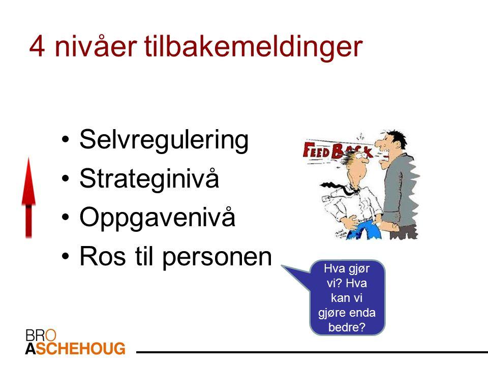 4 nivåer tilbakemeldinger Selvregulering Strateginivå Oppgavenivå Ros til personen Hva gjør vi? Hva kan vi gjøre enda bedre?