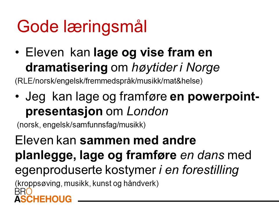 Gode læringsmål Eleven kan lage og vise fram en dramatisering om høytider i Norge (RLE/norsk/engelsk/fremmedspråk/musikk/mat&helse) Jeg kan lage og fr