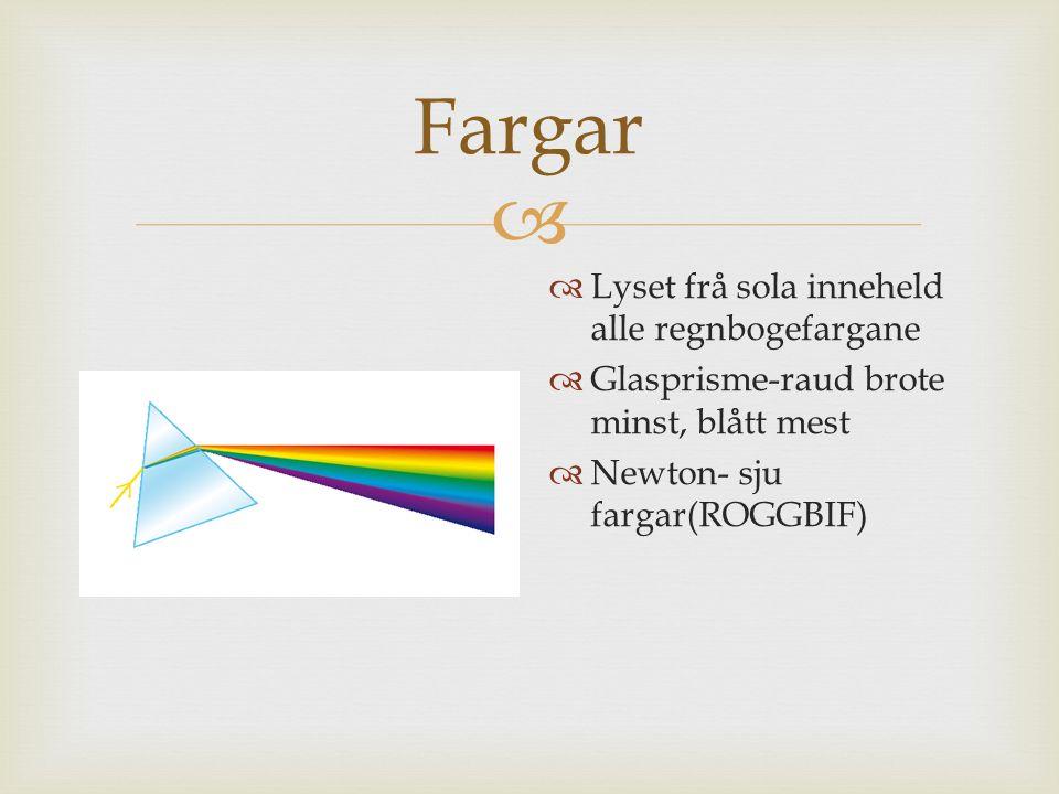  Fargar  Lyset frå sola inneheld alle regnbogefargane  Glasprisme-raud brote minst, blått mest  Newton- sju fargar(ROGGBIF)