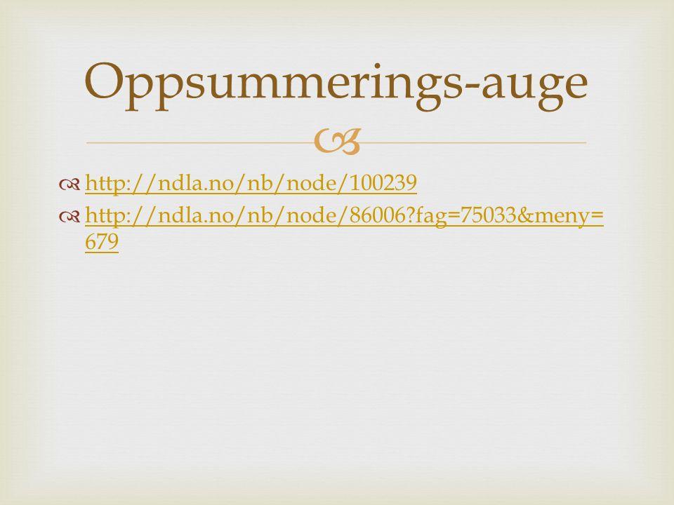   http://ndla.no/nb/node/100239 http://ndla.no/nb/node/100239  http://ndla.no/nb/node/86006 fag=75033&meny= 679 http://ndla.no/nb/node/86006 fag=75033&meny= 679 Oppsummerings-auge