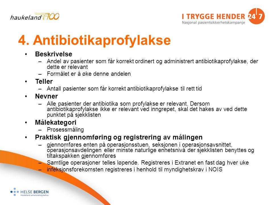 4. Antibiotikaprofylakse Beskrivelse –Andel av pasienter som får korrekt ordinert og administrert antibiotikaprofylakse, der dette er relevant –Formål