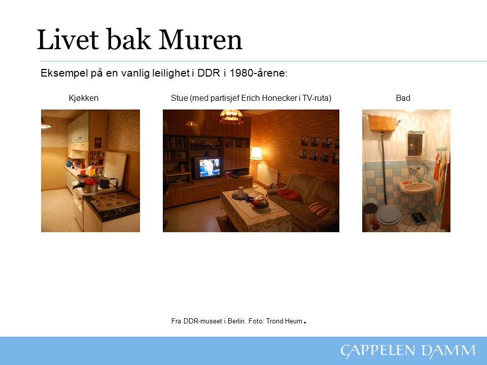 Livet bak Muren Eksempel på en vanlig leilighet i DDR i 1980-årene : Kjøkken Stue (med partisjef Erich Honecker i TV-ruta) Bad Fra DDR-museet i Berlin.