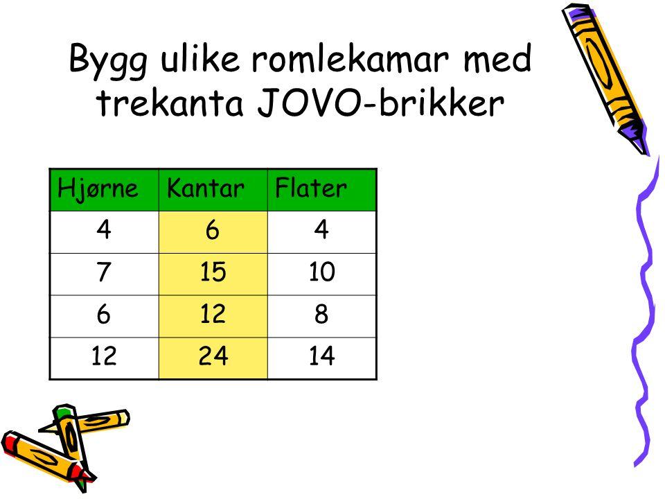 Bygg ulike romlekamar med trekanta JOVO-brikker HjørneKantarFlater 464 71510 6128 2414