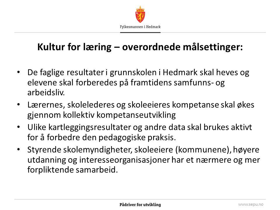 Begrunnelse og deltagelse Begrunnelsen for prosjektet er knyttet til at: – Elevenes resultater på nasjonale prøver i Hedmark er lave.