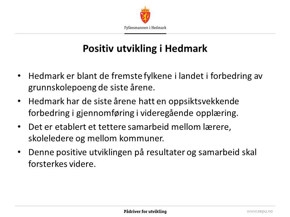 Positiv utvikling i Hedmark Hedmark er blant de fremste fylkene i landet i forbedring av grunnskolepoeng de siste årene.