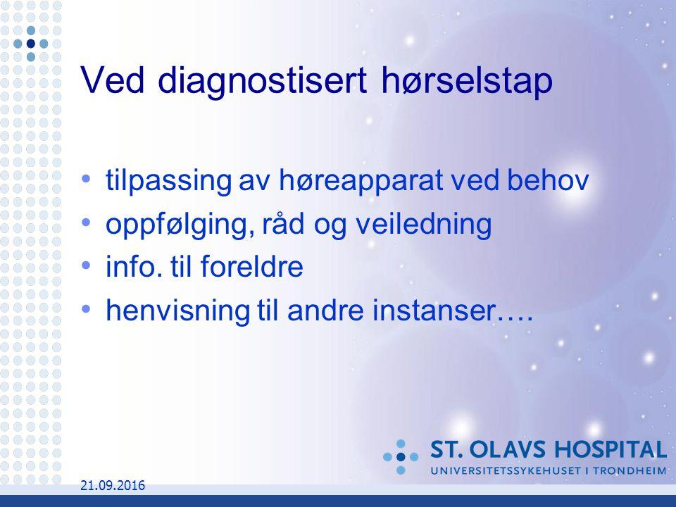21.09.2016 Ved diagnostisert hørselstap tilpassing av høreapparat ved behov oppfølging, råd og veiledning info.