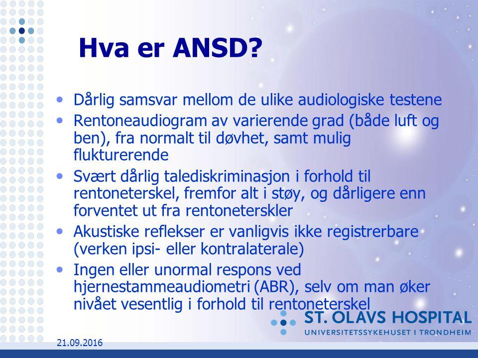 21.09.2016 Hva er ANSD.