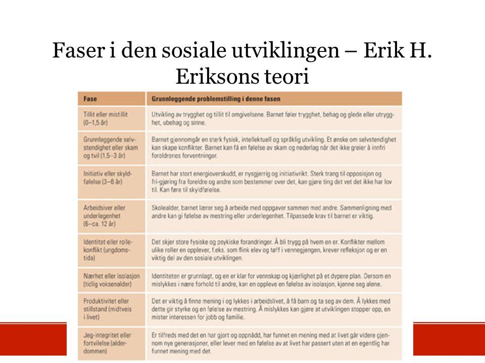 Faser i den sosiale utviklingen – Erik H. Eriksons teori