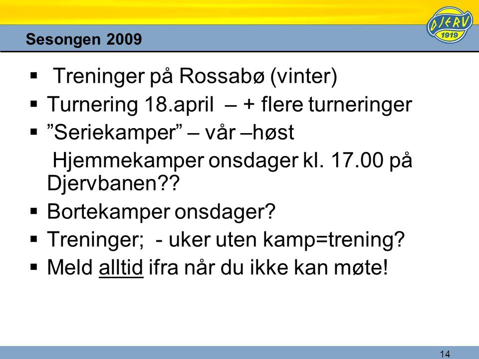 "14 Sesongen 2009  Treninger på Rossabø (vinter)  Turnering 18.april – + flere turneringer  ""Seriekamper"" – vår –høst Hjemmekamper onsdager kl. 17.0"