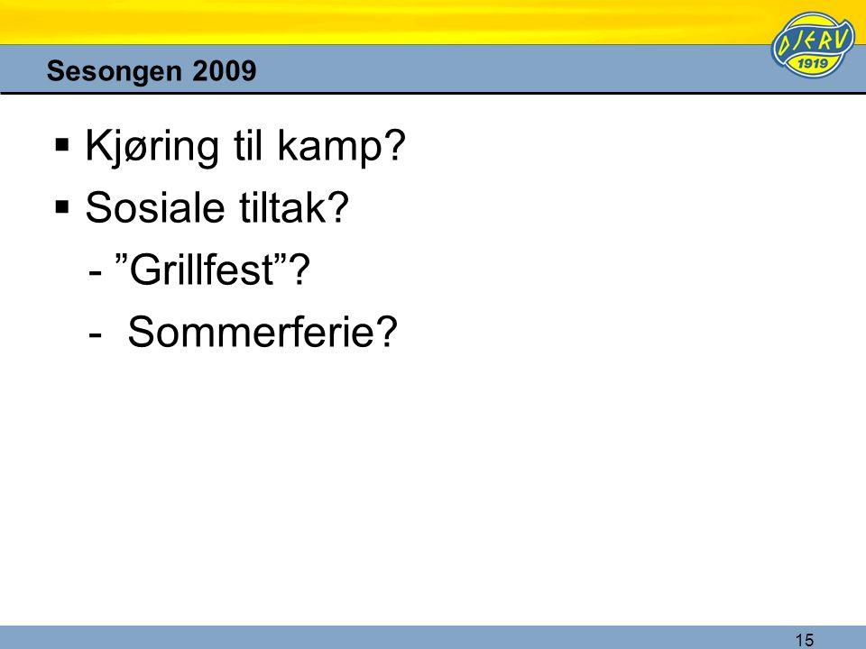 """15 Sesongen 2009  Kjøring til kamp?  Sosiale tiltak? - """"Grillfest""""? - Sommerferie?"""