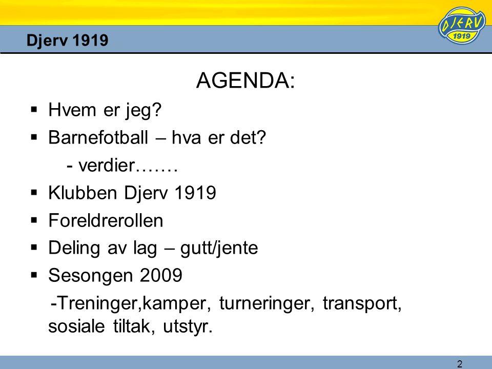 2 Djerv 1919 AGENDA:  Hvem er jeg?  Barnefotball – hva er det? - verdier…….  Klubben Djerv 1919  Foreldrerollen  Deling av lag – gutt/jente  Ses