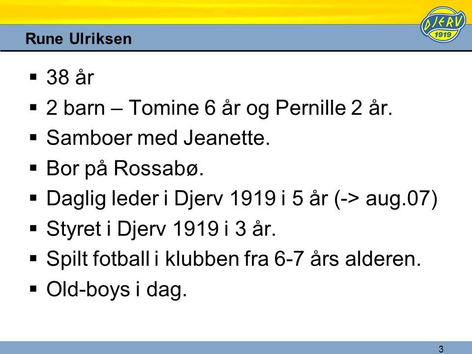3 Rune Ulriksen  38 år  2 barn – Tomine 6 år og Pernille 2 år.  Samboer med Jeanette.  Bor på Rossabø.  Daglig leder i Djerv 1919 i 5 år (-> aug.