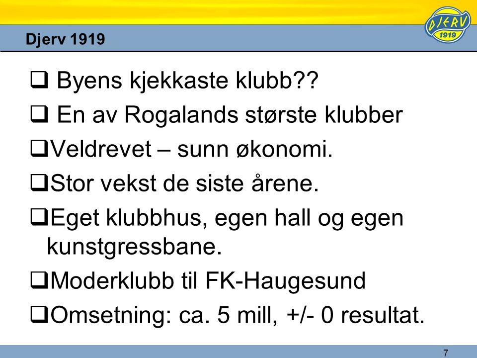 7 Djerv 1919  Byens kjekkaste klubb??  En av Rogalands største klubber  Veldrevet – sunn økonomi.  Stor vekst de siste årene.  Eget klubbhus, ege