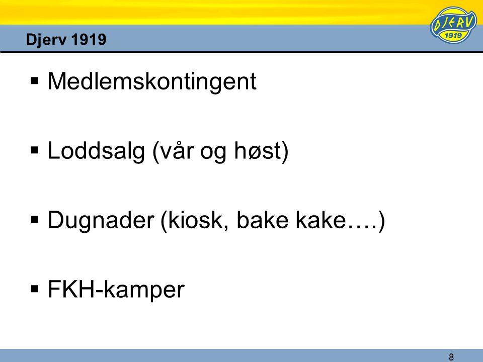 8 Djerv 1919  Medlemskontingent  Loddsalg (vår og høst)  Dugnader (kiosk, bake kake….)  FKH-kamper