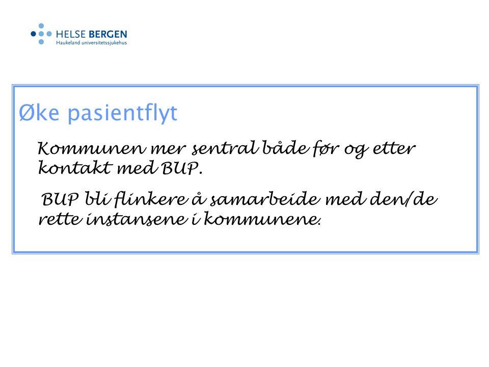 Øke pasientflyt Kommunen mer sentral både før og etter kontakt med BUP.
