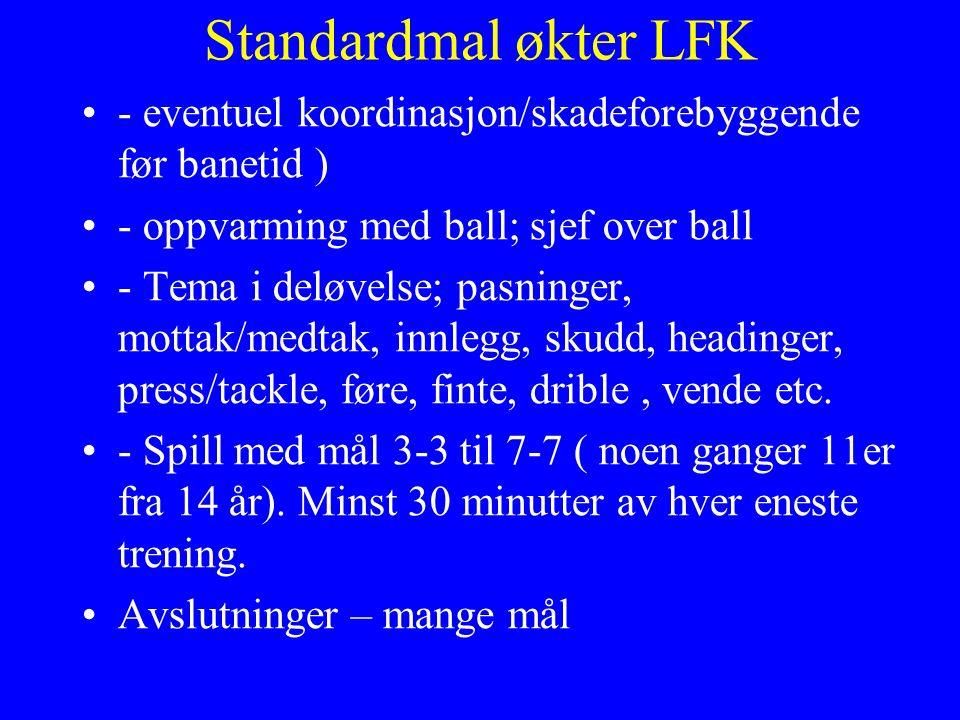 Standardmal økter LFK - eventuel koordinasjon/skadeforebyggende før banetid ) - oppvarming med ball; sjef over ball - Tema i deløvelse; pasninger, mottak/medtak, innlegg, skudd, headinger, press/tackle, føre, finte, drible, vende etc.