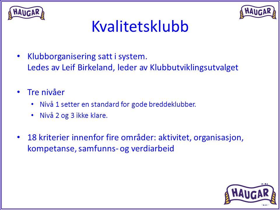 Kvalitetsklubb Klubborganisering satt i system. Ledes av Leif Birkeland, leder av Klubbutviklingsutvalget Tre nivåer Nivå 1 setter en standard for god