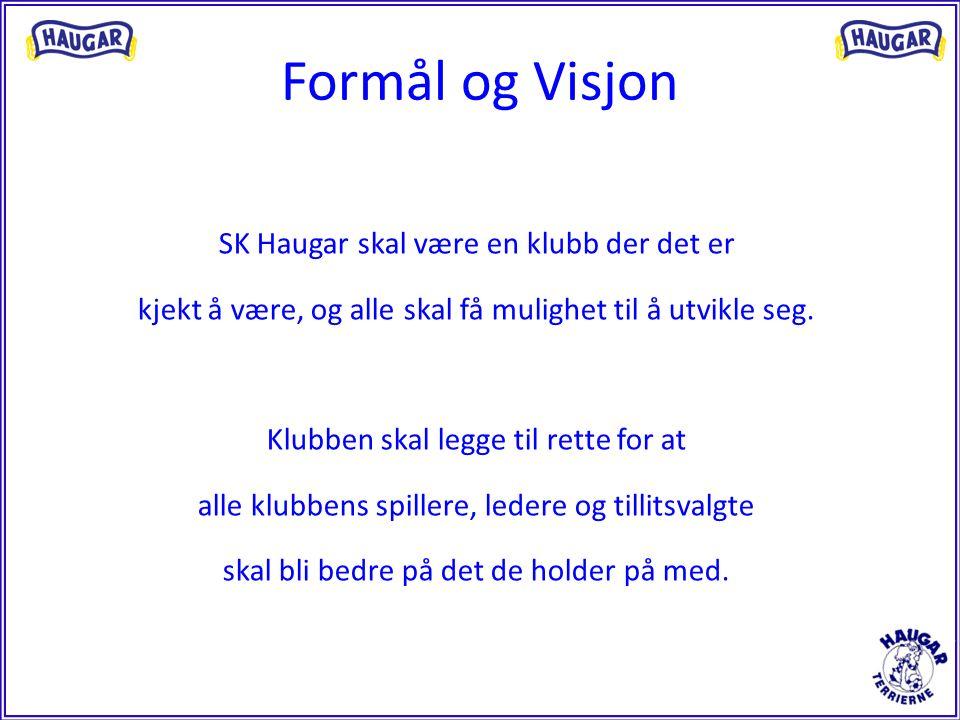 Formål og Visjon SK Haugar skal være en klubb der det er kjekt å være, og alle skal få mulighet til å utvikle seg. Klubben skal legge til rette for at