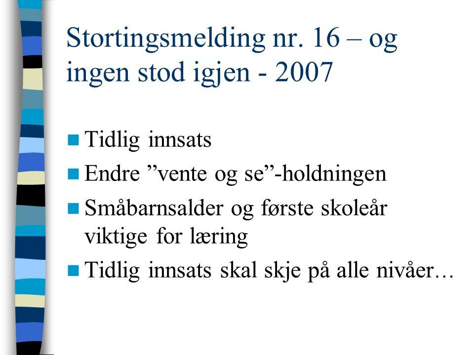 """Stortingsmelding nr. 16 – og ingen stod igjen - 2007 Tidlig innsats Endre """"vente og se""""-holdningen Småbarnsalder og første skoleår viktige for læring"""