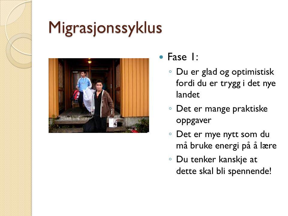 Migrasjonssyklus Fase 1: ◦ Du er glad og optimistisk fordi du er trygg i det nye landet ◦ Det er mange praktiske oppgaver ◦ Det er mye nytt som du må bruke energi på å lære ◦ Du tenker kanskje at dette skal bli spennende!