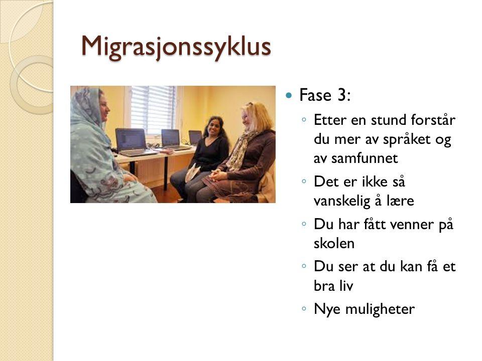 Migrasjonssyklus Fase 3: ◦ Etter en stund forstår du mer av språket og av samfunnet ◦ Det er ikke så vanskelig å lære ◦ Du har fått venner på skolen ◦ Du ser at du kan få et bra liv ◦ Nye muligheter