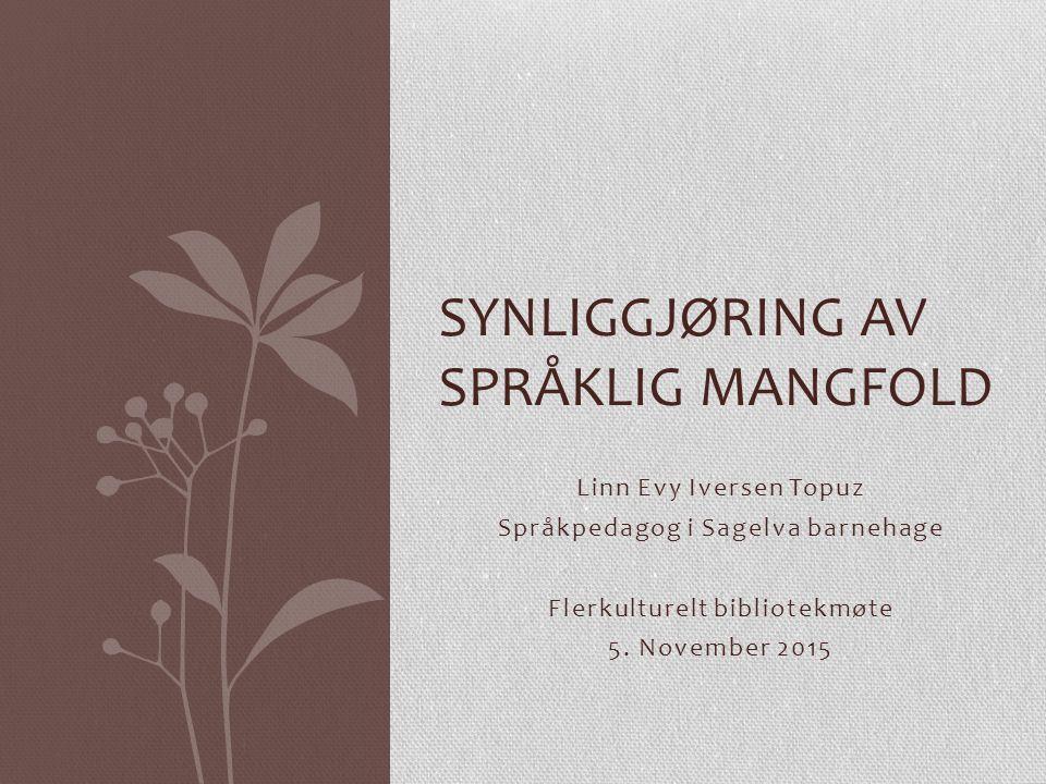 Linn Evy Iversen Topuz Språkpedagog i Sagelva barnehage Flerkulturelt bibliotekmøte 5.