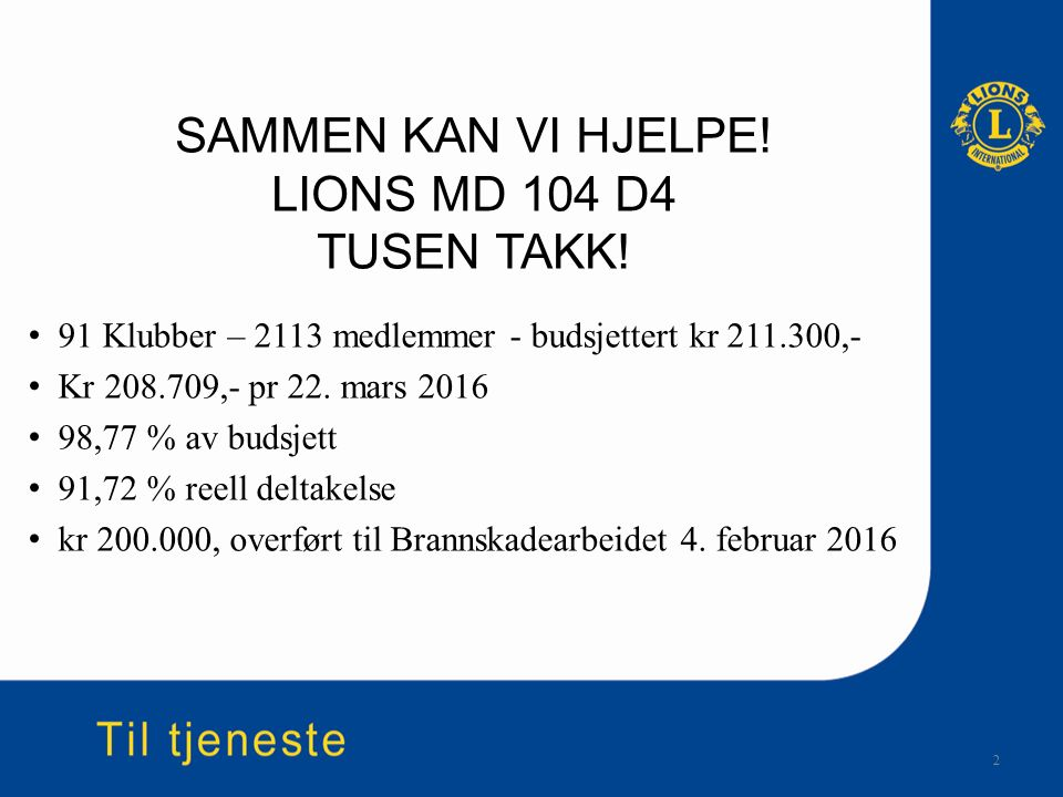 SAMMEN KAN VI HJELPE! LIONS MD 104 D4 TUSEN TAKK! 91 Klubber – 2113 medlemmer - budsjettert kr 211.300,- Kr 208.709,- pr 22. mars 2016 98,77 % av buds