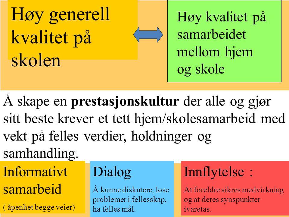 Høy generell kvalitet på skolen Høy kvalitet på samarbeidet mellom hjem og skole Å skape en prestasjonskultur der alle og gjør sitt beste krever et tett hjem/skolesamarbeid med vekt på felles verdier, holdninger og samhandling.