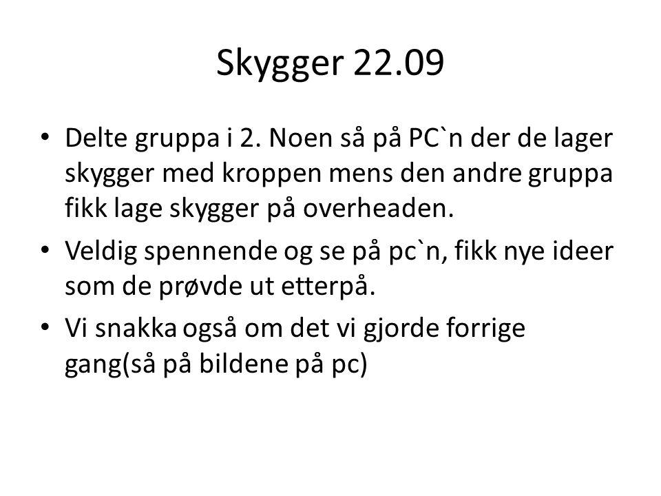 Skygger 22.09 Delte gruppa i 2.