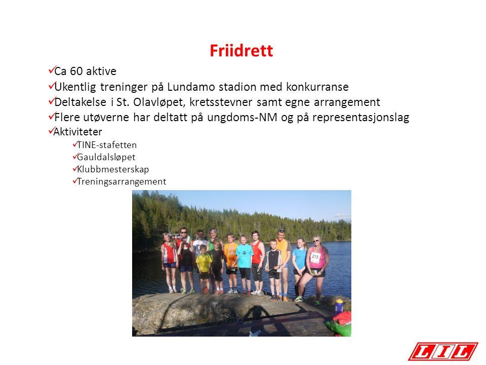 Friidrett Ca 60 aktive Ukentlig treninger på Lundamo stadion med konkurranse Deltakelse i St.