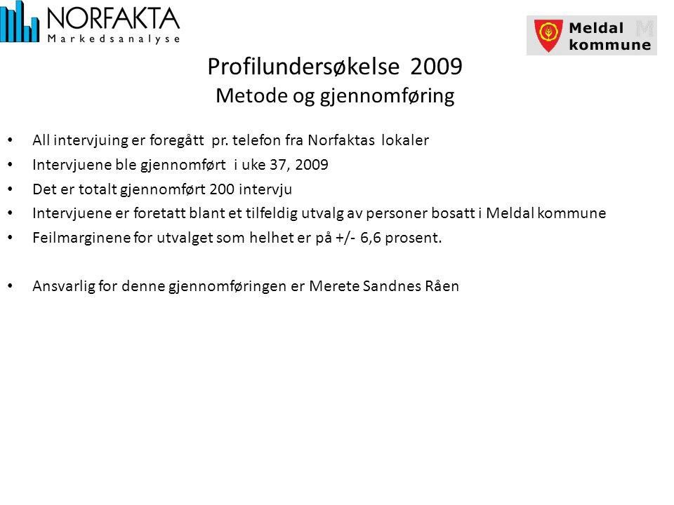 Profilundersøkelse 2009 Metode og gjennomføring All intervjuing er foregått pr.