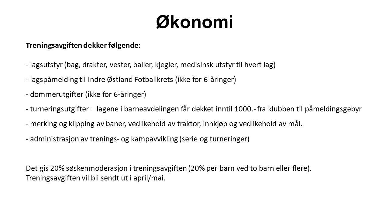Økonomi Treningsavgiften dekker følgende: - lagsutstyr (bag, drakter, vester, baller, kjegler, medisinsk utstyr til hvert lag) - lagspåmelding til Indre Østland Fotballkrets (ikke for 6-åringer) - dommerutgifter (ikke for 6-åringer) - turneringsutgifter – lagene i barneavdelingen får dekket inntil 1000.- fra klubben til påmeldingsgebyr - merking og klipping av baner, vedlikehold av traktor, innkjøp og vedlikehold av mål.