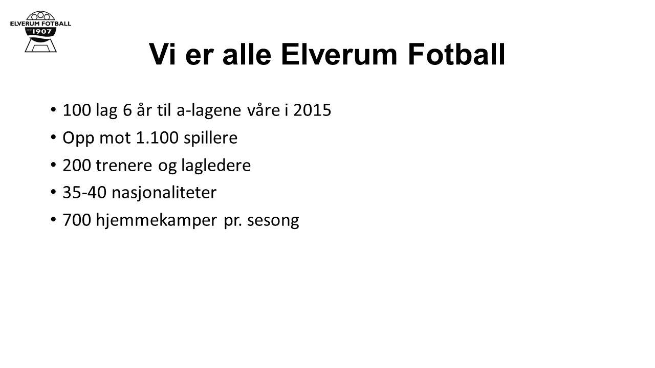Vi er alle Elverum Fotball 100 lag 6 år til a-lagene våre i 2015 Opp mot 1.100 spillere 200 trenere og lagledere 35-40 nasjonaliteter 700 hjemmekamper pr.