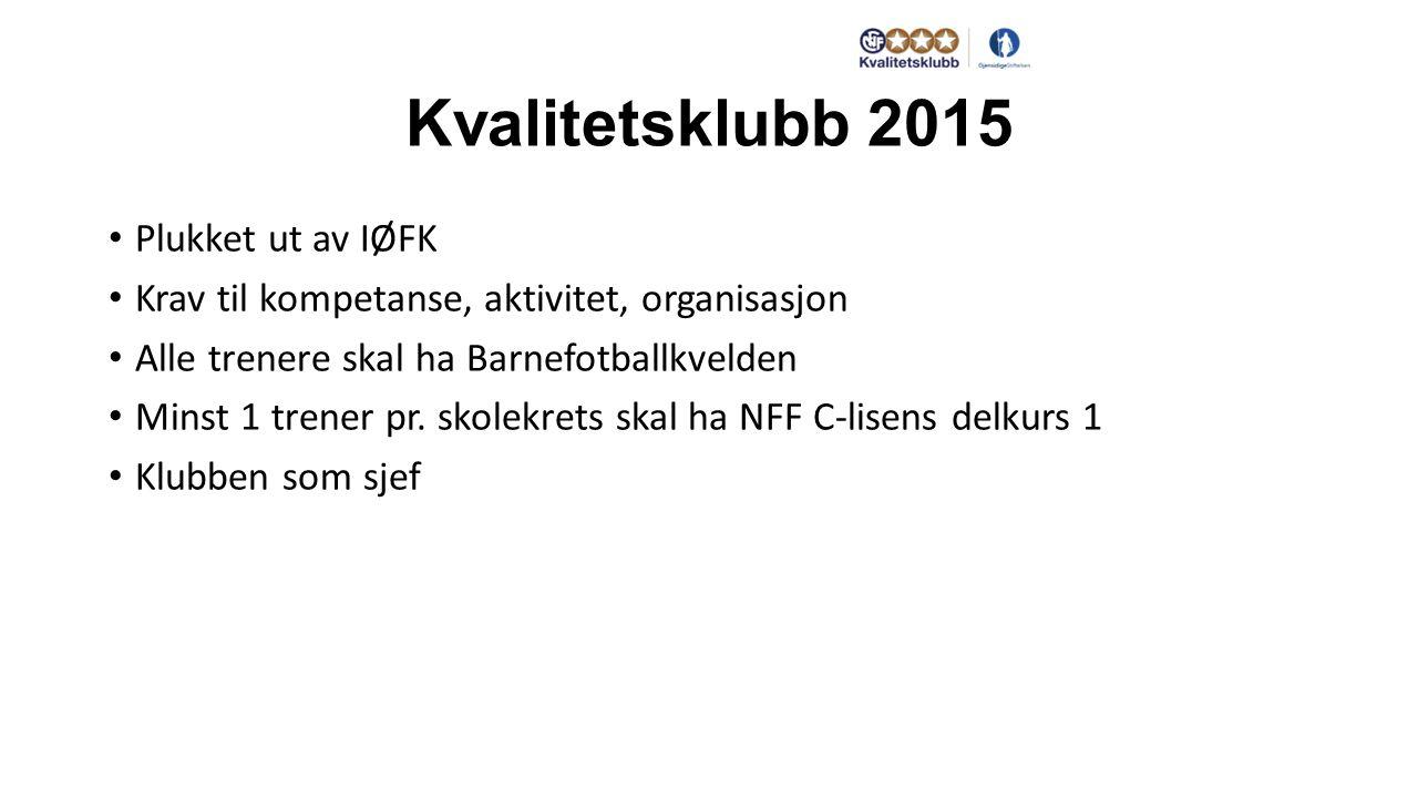 Kvalitetsklubb 2015 Plukket ut av IØFK Krav til kompetanse, aktivitet, organisasjon Alle trenere skal ha Barnefotballkvelden Minst 1 trener pr.