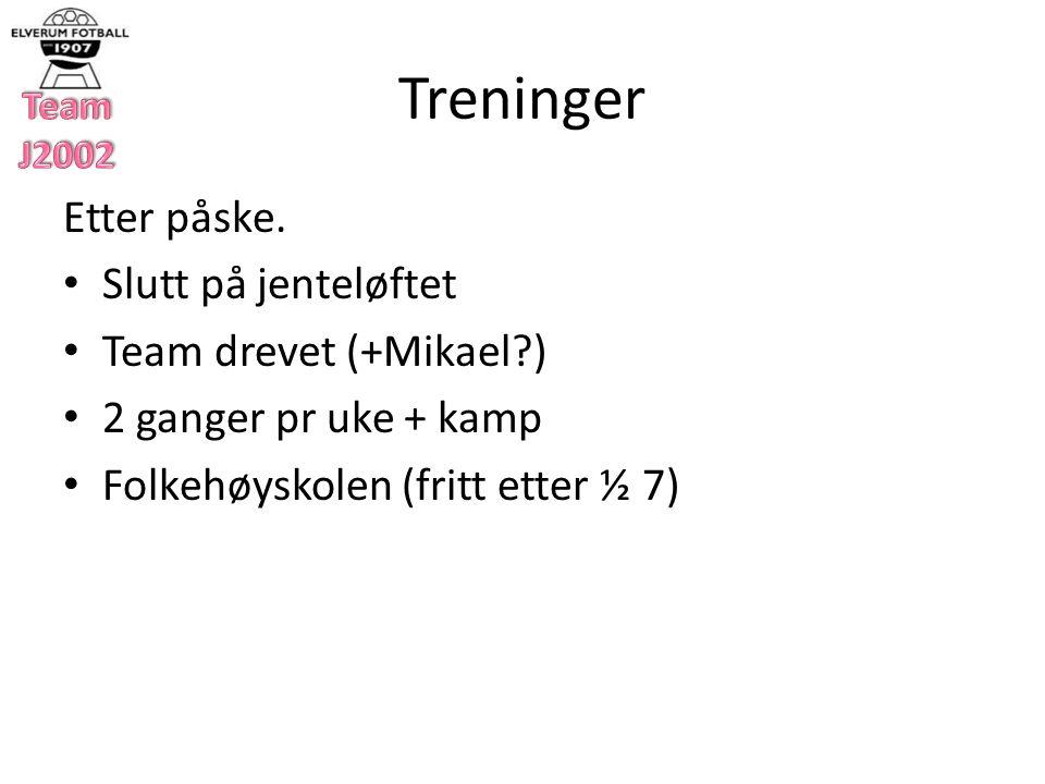 Treninger Etter påske.