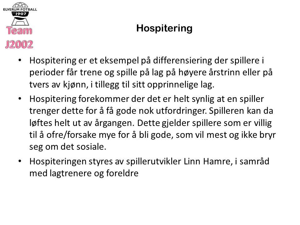 Hospitering Hospitering er et eksempel på differensiering der spillere i perioder får trene og spille på lag på høyere årstrinn eller på tvers av kjønn, i tillegg til sitt opprinnelige lag.