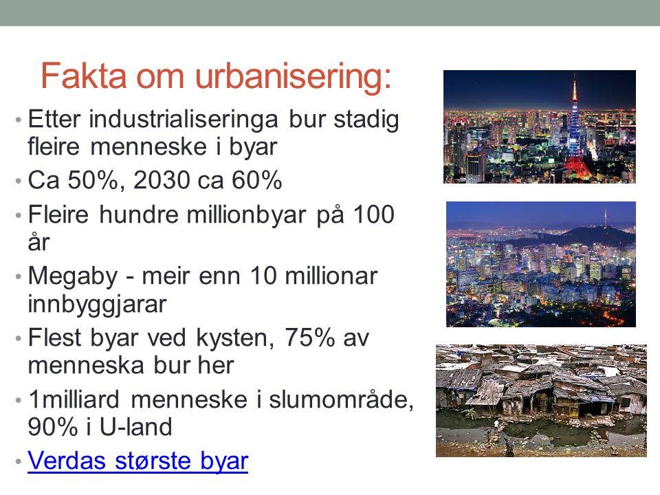 Fakta om urbanisering: Etter industrialiseringa bur stadig fleire menneske i byar Ca 50%, 2030 ca 60% Fleire hundre millionbyar på 100 år Megaby - meir enn 10 millionar innbyggjarar Flest byar ved kysten, 75% av menneska bur her 1milliard menneske i slumområde, 90% i U-land Verdas største byar